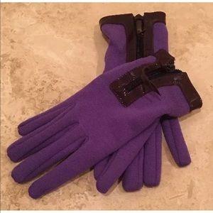 MIU MIU PRADA Purple Wool Patent Silk Gloves NWOT